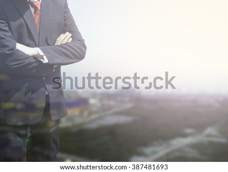 Blurred Business man success or soft Business man success in he working on marketing online or e learning with global learning and world on over blur or blurred top city view with light background.  - stock photo