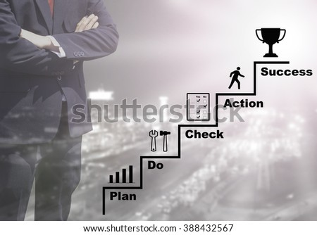 Blurred Business man success or teach working on marketing online or e learning by PDCA plan do check action concept on blurred night city view black and white tone background with corner light flare. - stock photo
