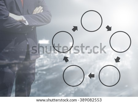 Blurred Business man with life or business Improvement cycle concept, core value cycle on blur or blurred night city view blue tone background with corner light flare.five cycle concept. - stock photo