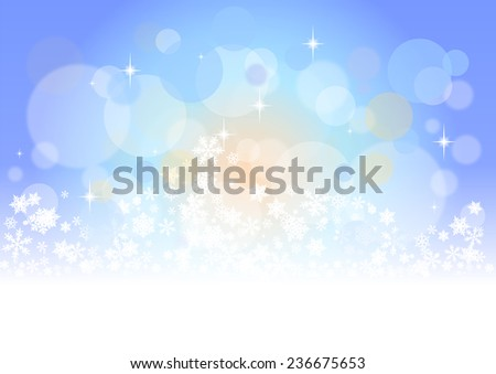 blurred christmas background with snowflakes  - stock photo
