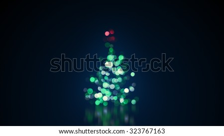 blurred christmas tree lights with reflection - stock photo