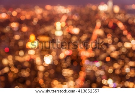 Blurred city concept from aerial view - stock photo