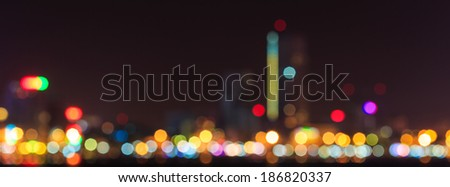 Blurred city lights with bokeh in Danang, Vietnam - stock photo