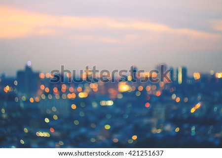 Blurred city night background. Tower Magic Art Dark Town Lifestyle Office View Street Busy Scene Road Glow Way Traffic Effect Motion Round Bright Travel Vibrant Building Invest Skyline Dating - stock photo