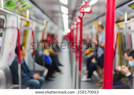 Blurred city people lifestyle background / inside the train - stock photo