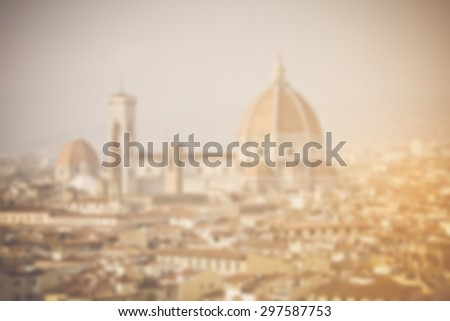 Blurred Cityscape of Florence Italy with Instagram Style Retro Filter - stock photo