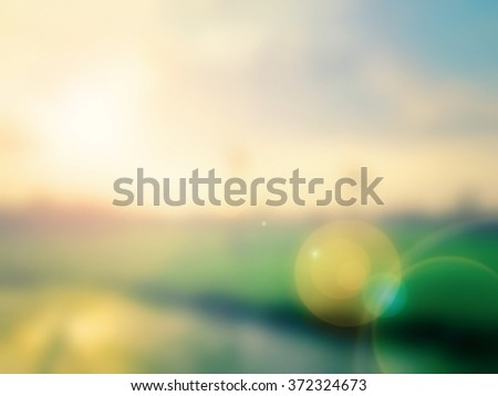 Blurred cornfield over sunset background. World Water Day, Ecology, Environment concept. - stock photo