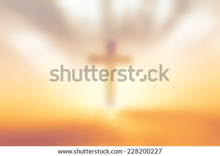 Blurred cross of sky on sunset background. Christmas background concept. Worship, Forgiveness, Mercy, Humble, Repentance, Reconcile, Adoration, Glorify, Redeemer concept. - stock photo