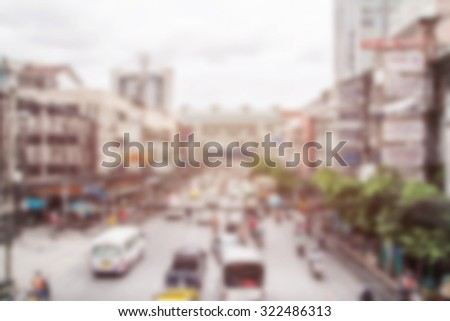 Blurred defocused abstract background of car on the street in Bangkok - Crowded city center during rush hour in urban business area  - stock photo