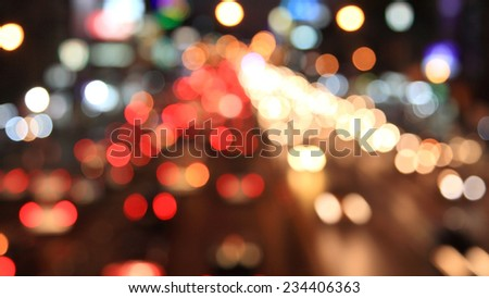 Blurred Defocused Lights of Heavy Traffic  and the city in Bangkok. Thailand - stock photo