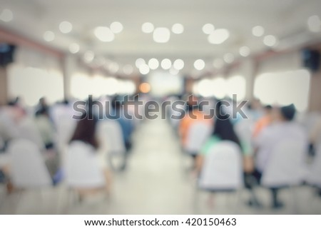 Blurred education people sitting in meeting room for profession seminar               - stock photo