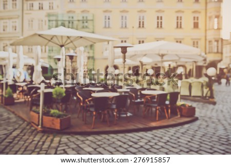 Blurred Empty Cafe in European City with Instagram Style Filter - stock photo