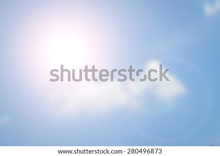 Blurred  Flare Blue sky and sunlight - stock photo