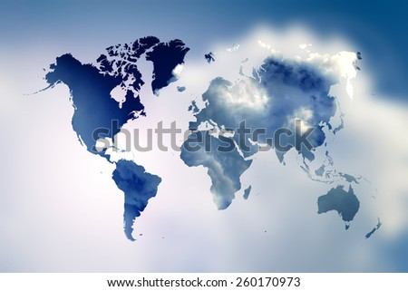 Blurred  Flare Blue sky and sunlight with world map - stock photo