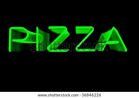 Blurred Green Neon Pizza Sign for Zooming Lens During Exposure on Black, Copy Space - stock photo