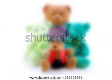 Blurred group of cute teddy bears - stock photo