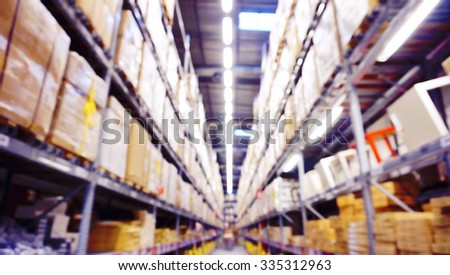 Blurred Image Inside A Modern Warehouse. - stock photo