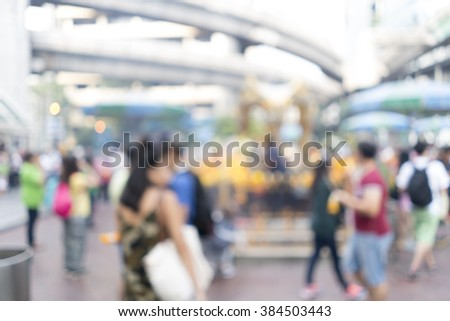 Blurred image of Brahma sculpture at Ratchaprasong, Bangkok, Thailand for background uses - stock photo