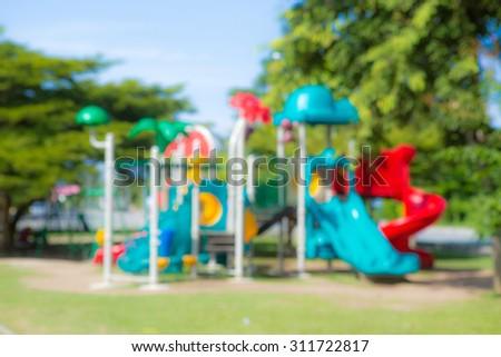 blurred image of children's school playground  - stock photo
