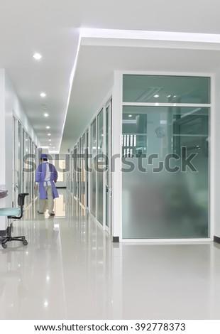 blurred image of dental clinic corridor - stock photo