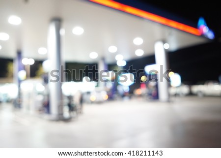 Blurred image of Gas Station for background use. - stock photo