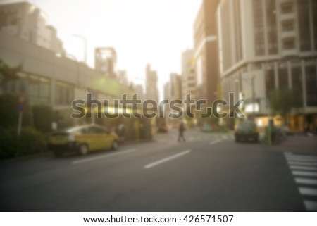 Blurred image of japanese urban life style  at Shibuya Tokyo japan and cross process with soft flare filter - stock photo