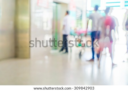Blurred image of patient in hospital waiting for preserve with doctor  - stock photo
