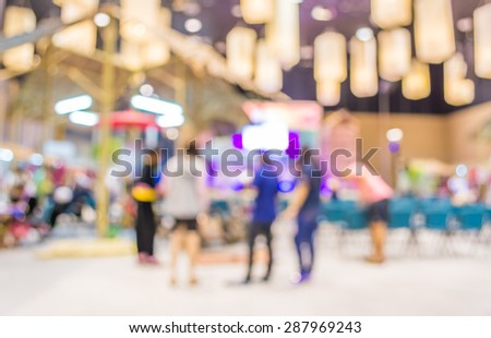 Blurred image of people in auditorium , blur background with bokeh . - stock photo
