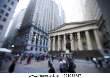 blurred image of the area at Broad Street and Exchange Place in New York City, NY. - stock photo