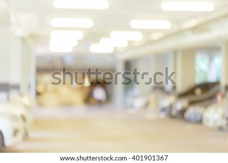 blurred Image the parking lot. - stock photo