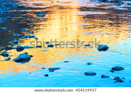blurred in morocco africa the   sunlight of sunset   a lake near  desert - stock photo