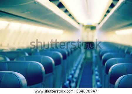 Blurred inside airplane, airplane cabins blur - stock photo