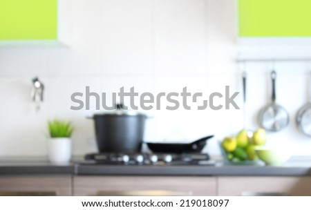 Blurred kitchen interior for background. - stock photo