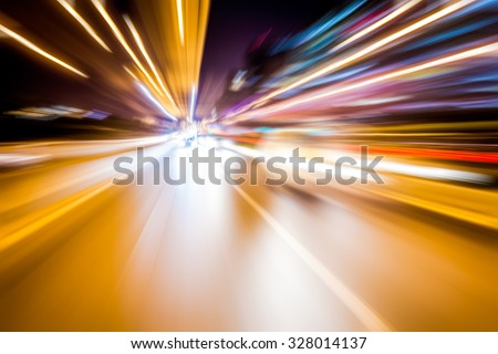 Blurred lights, long exposure photo of traffic - stock photo