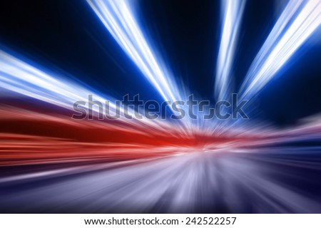 Blurred lights of Police car, long exposure - stock photo