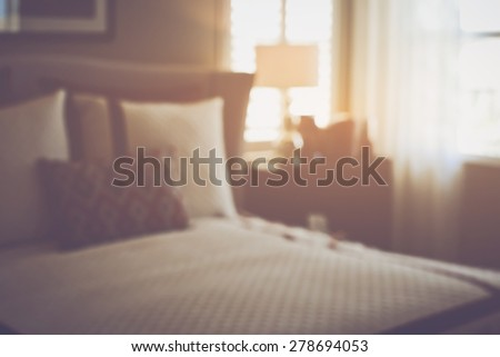 Blurred Master Bedroom with Retro Instagram Style Filter - stock photo