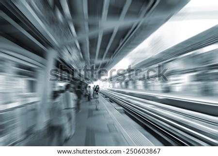 blurred metro train station - stock photo