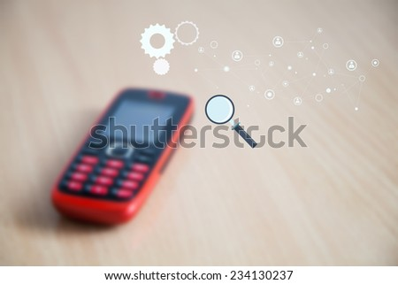 Blurred mobile phone  and added graphic global connection. Internet Search concept - stock photo