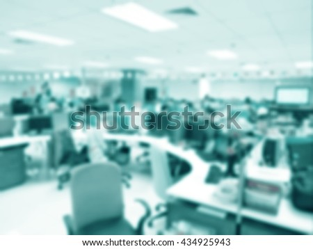 Blurred modern office interior background style vintage tone. - stock photo