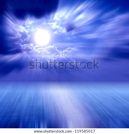 Blurred Moon light over the Middle of The Ocean - stock photo