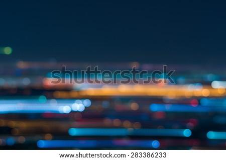Blurred motion Photo bokeh of cityscape - stock photo