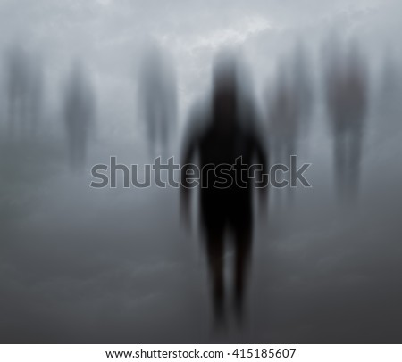 Blurred mysterious people walking in a weird background - stock photo