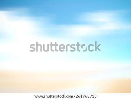 Blurred nature background. Sandy beach backdrop with turquoise water and bright sun light. Summer holidays, Blue, White, Yellow, Orange, Sand, Motion, Water, World Ocean Day concept. - stock photo