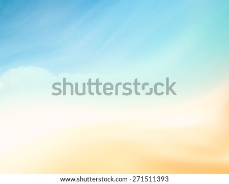 Blurred nature background. Sandy beach backdrop with turquoise water and bright sun light. Summer holidays concept. - stock photo