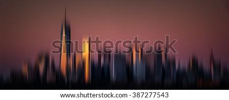 Blurred New York City background. View of Manhattan skyline in NYC - stock photo