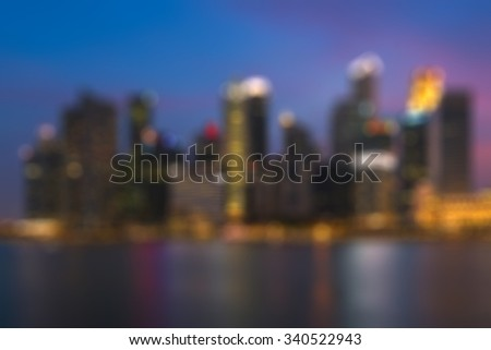 Blurred night downtown city, building background scene.blur backgrounds concept - stock photo