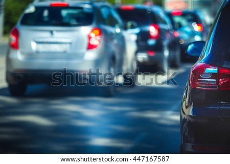 Blurred of car on road - stock photo