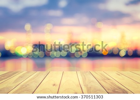 Blurred of city at twilight. - stock photo