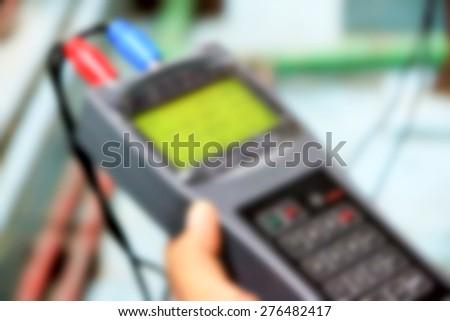 Blurred of flow meter measurement - stock photo