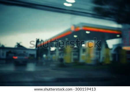 Blurred of gas station - stock photo